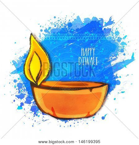 Creative Illuminated Lit Lamp on abstract paint stroke background, Vector greeting card for Indian Festival of Lights, Happy Diwali Celebration.