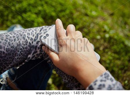 Girl Using Modern Smart Phone