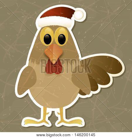 Rooster in Santa hat. Vintage background. Vector illustration