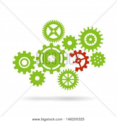 Gear wheels isolated on white background. Broken piece of machinery vector concept