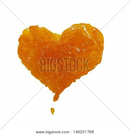 Jamheart love marmalade Apricotpeach stains on a white background