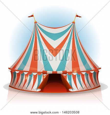 Illustration of a cartoon big top circus tent with red blue and white stripes for funfair and carnival holidays isolated on white