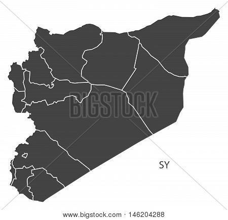 Syria grey map with regions isolated vector high res
