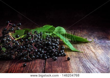 black elderberries (Sambucus nigra) with leaves on a dark wooden background with copy space selective focus close up shot