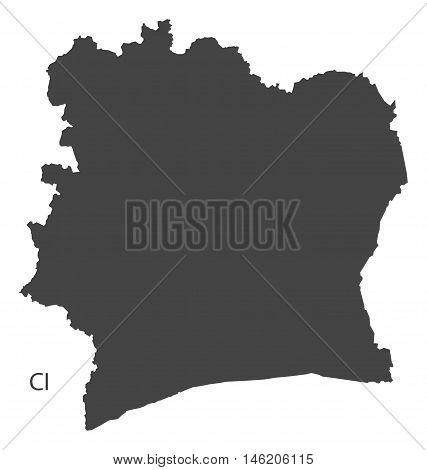 Ivory Coast grey map isolated vector high res