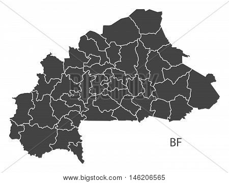 Burkina Faso grey map with regions isolated vector high res