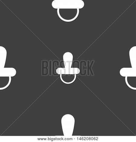 Baby Pacifier Icon Sign. Seamless Pattern On A Gray Background. Vector