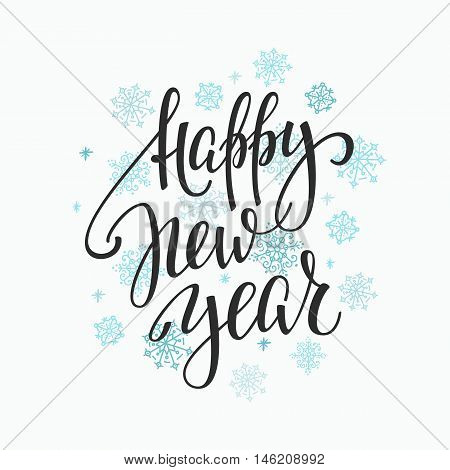 Christmas New Year simple lettering. Calligraphy postcard or poster graphic design lettering element. Hand written postcard design. Photo overlay Winter Holidays sign detail. Happy New Year
