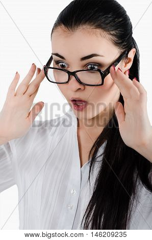 Surprised,crazy Young Woman Holding Eyeglasses And Taking A Clos