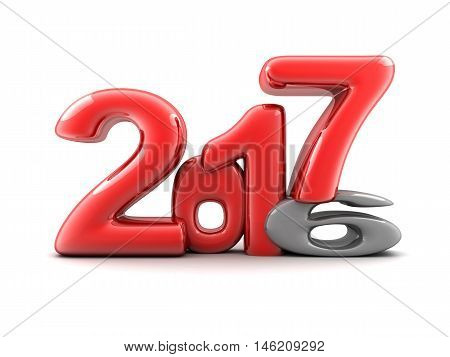 Funny new year 2017 (done in 3d rendering white background)