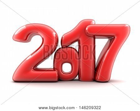 Funny new year 2017 (done in 3d renderingwhite background )