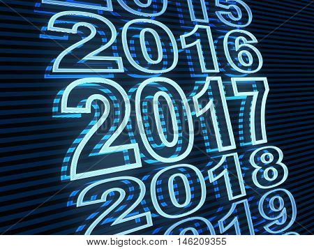 New year row date 2017 blue light (done in 3d rendering)