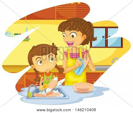 Girl helping mom doing dishes illustration