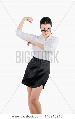Happy Business Woman Flexing Her Arm Muscles To Show How Stong S