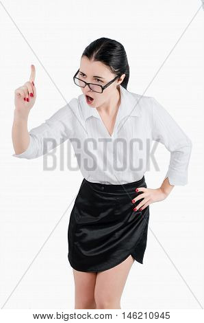 Full Body Business Woman Yelling At Someone. Isolated White Back