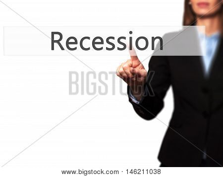 Recession - Isolated Female Hand Touching Or Pointing To Button