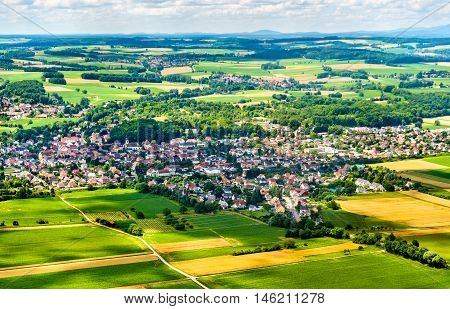 Aerial view of Sierentz village in Haut-Rhin - Alsace, France