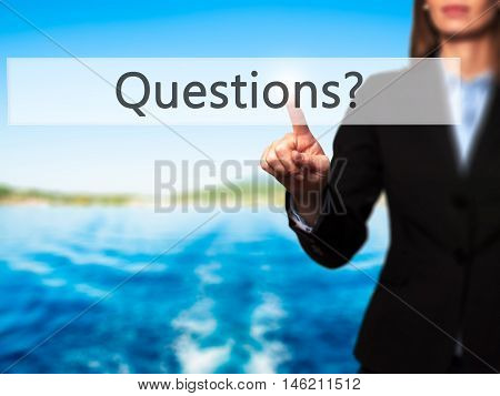Questions ? - Isolated Female Hand Touching Or Pointing To Button