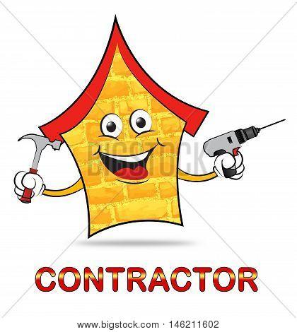 Building Contractor Shows Real Estate Builder Construction