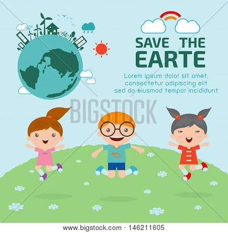 Kids for Saving Earth , Kids for Saving the world, kids save planet, ecology concept, cartoon character