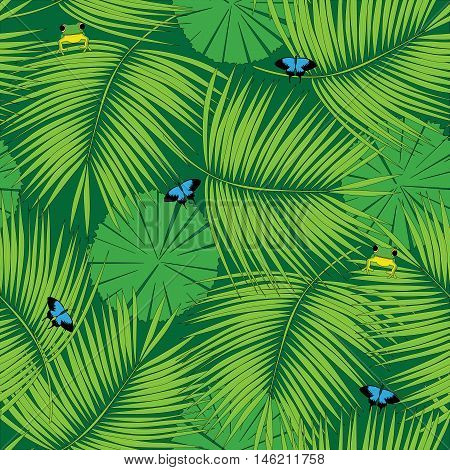 Seamless pattern made of illustrated rain forest flora and fauna
