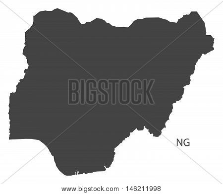 Nigeria grey map isolated vector high res