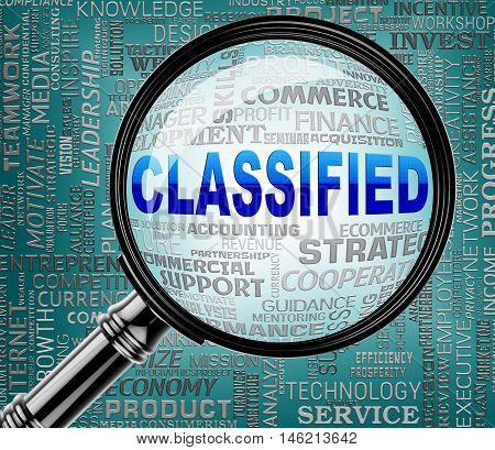 Classified Magnifier Indicates Restricted Information 3D Rendering