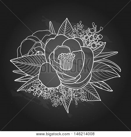 Graphic floral card. Vector camellia leaves and flowers in in cute vignette isolated on chalkboard. Wedding style decorations in black and white colors