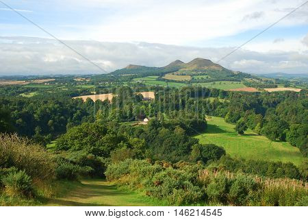 Eildon Hills and Scottish Borders countryside from Scotts View