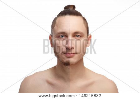 Half shaved. Handsome young man with half shaved face looking at camera. Young man portrait, isolated on a white background. Before and after cosmetic or plastic procedure, anti-age therapy.