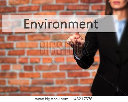 Environment - Isolated Female Hand Touching Or Pointing To Button