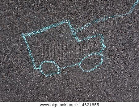 Coche verde, niños dibujo sobre asfalto