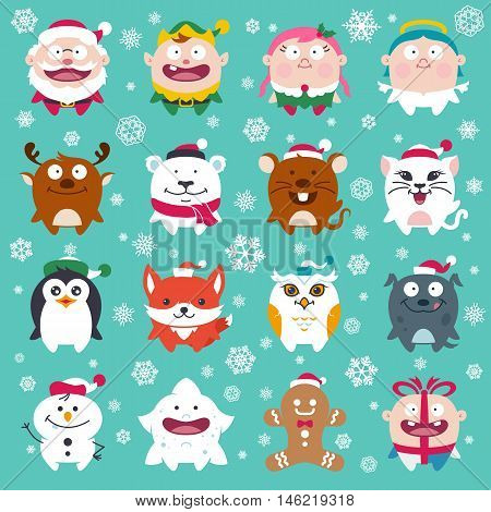 Cute Flat Christmas Characters Vol.2