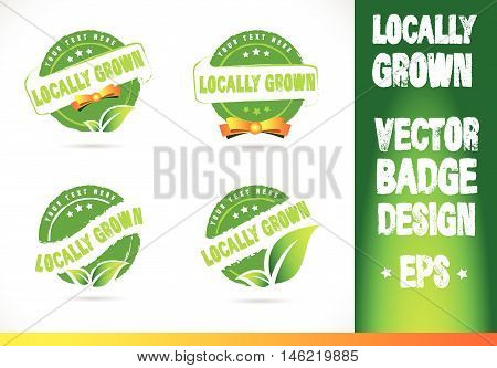 Localy grown Badge Vector Logobadge label seal stamp logo text design green leaf template vector eps
