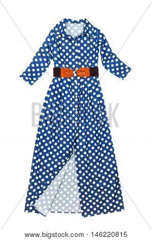 Long stylish fashionable blue dress with white polka dots brown belt isolated on a white background closeup