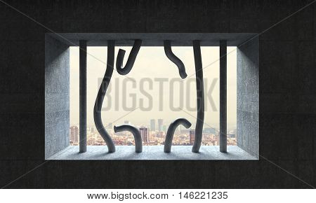 3d image broken jail bar and town background