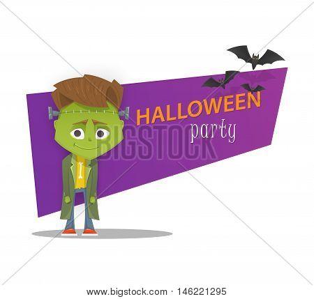 Halloween monster party banner. Frankenstein. Cartoon style vector illustration.