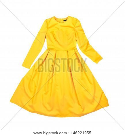 Bright beautiful classic elegant yellow dress isolated on white background closeup