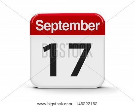 Calendar web button - The Seventeenth of September - Constitution Day and Citizenship Day in USA three-dimensional rendering 3D illustration