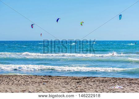 Ulcinj,Montenegro- July 18, 2016: Kitesurfing on the Adriatic sea in Ulcinj Montenegro Europe
