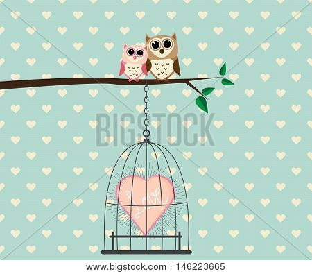 Couple Owl on Tree and Heart Love In Cage Vector Illustration