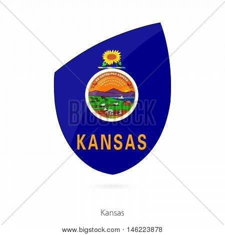 Flag of Kansas in the style of Rugby icon. Vector Illustration.