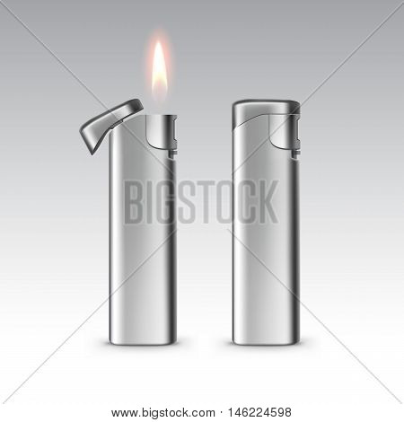 Vector Blank Metal Lighters with Flame Close up Isolated on White Background