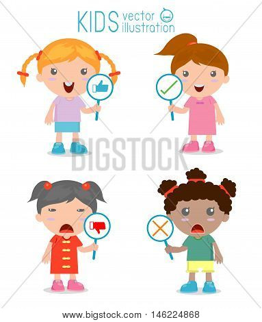 kids girl have a plate of sign to answer correct or incorrect, kids hand thumb up with true and false sign,Vector illustration of positive and negative feedback