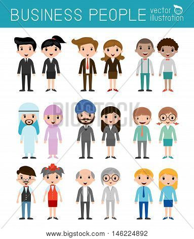 Set of diverse business people isolated on white background. Set of full body diverse business people.Different nationalities and dress styles.people character cartoon concept.flat modern design