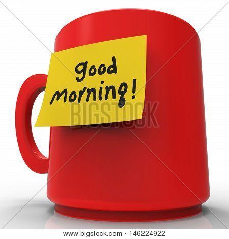 Good Morning Message Indicates Wake Up 3D Rendering