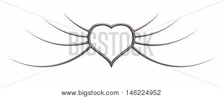 metal heart with prickle wings - 3d illustration