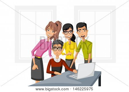 Cartoon business people working with computer. Office workspace with desks.