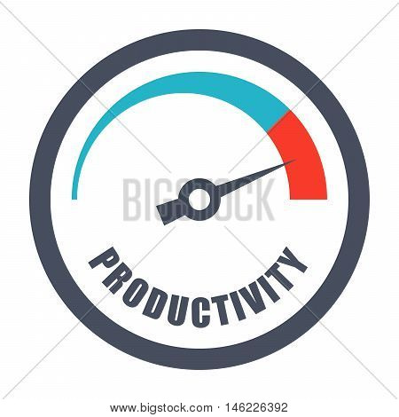 Increase productivity concept with tachometer and text productivity.