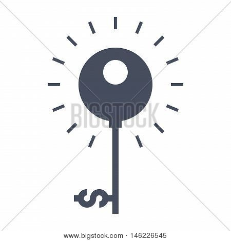 Key to success concept with key and dollar sign.